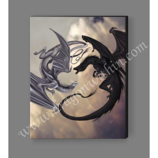 Black and White Dragon Spiral Canvas Print