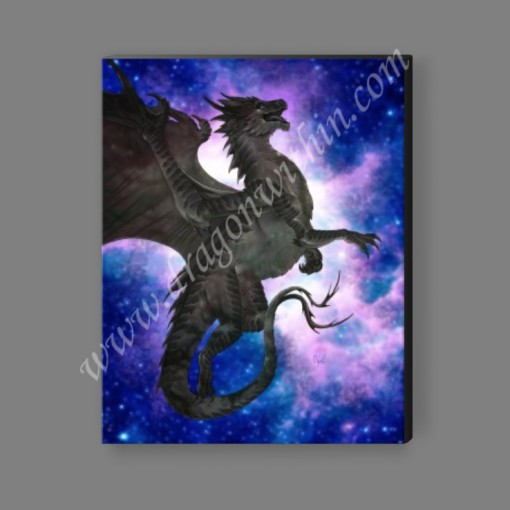 Pleiadean Dragon Canvas Print - Carbon