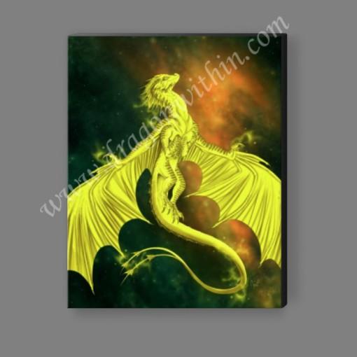 Pleiadean Dragon Canvas Print - Lemon
