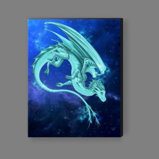 Pleiadean Dragon Canvas Print - Turquoise