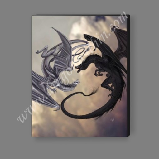 Black and White Dragon Spiral Canvas Print