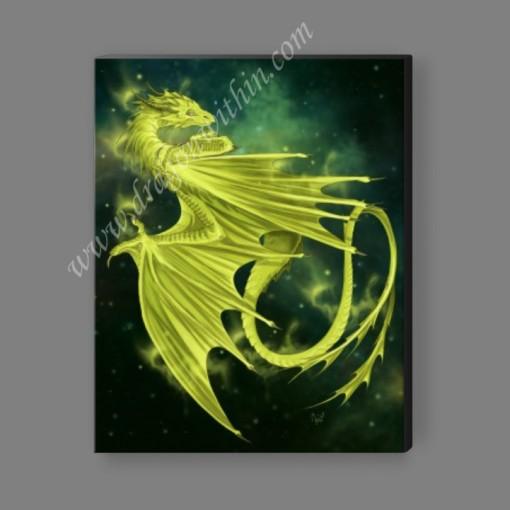 Pleiadean Dragon Canvas Print - Chartreuse