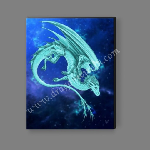 Pleiadean Dragon Canvas Print - Turquoise