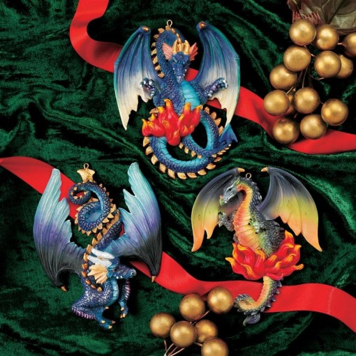 Painted Dragon Ornaments - Set of 3