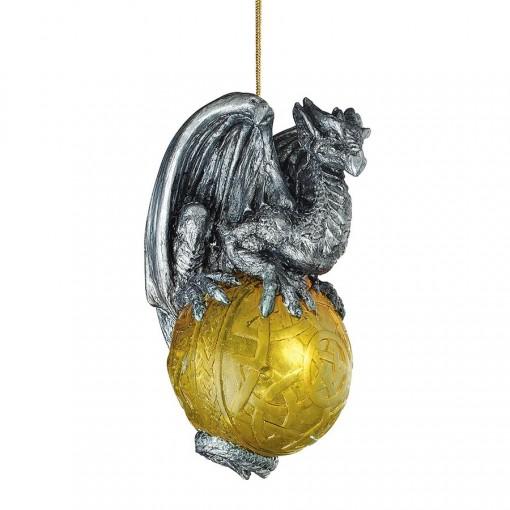 Golden Orb Dragon Ornament