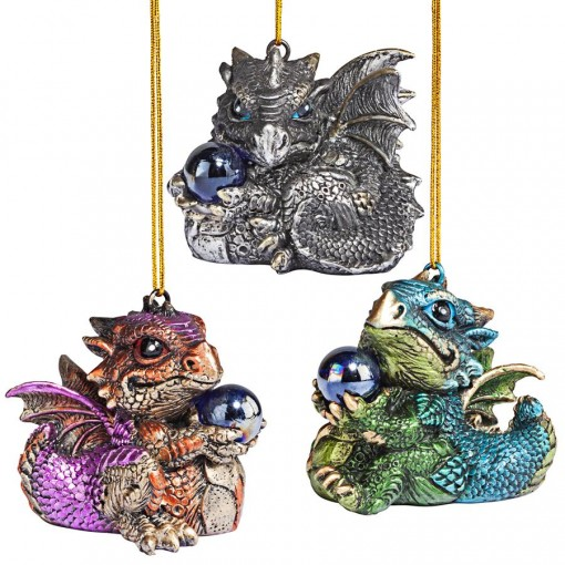Baby Dragon Ornaments - Set of 3