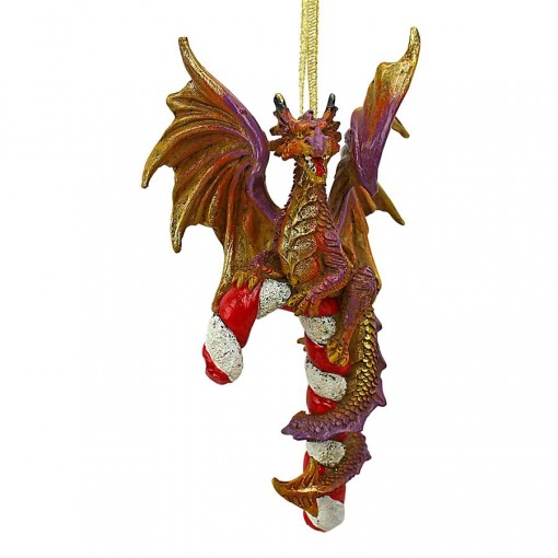 Candy Cane Dragon Ornament