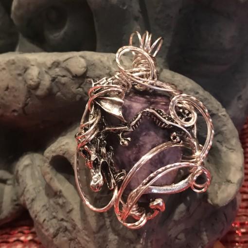 Stone Wrap Dragon Pendant - Charoite 1