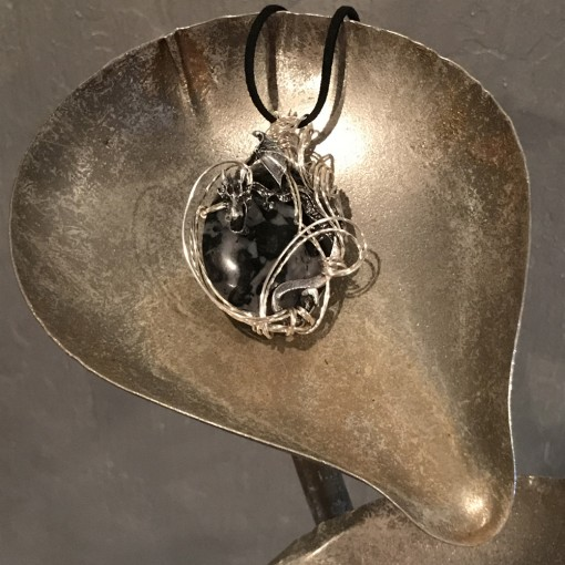 Stone Wrap Dragon Pendant - Merlinite