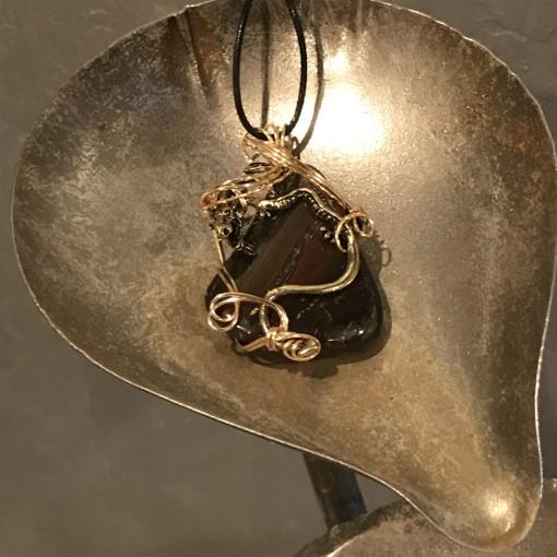 Stone Wrap Pendant - Tiger Iron