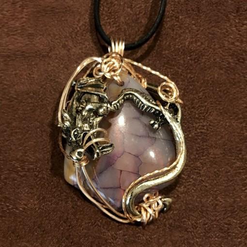 Stone Wrap Pendant - Dragon Vein Agate 1