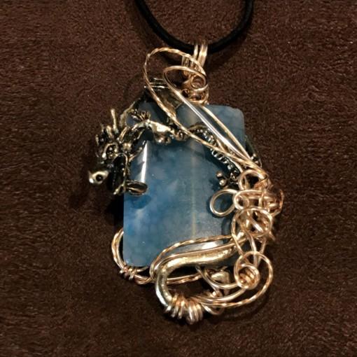 Stone Wrap Pendant - Dragon Vein Agate 2