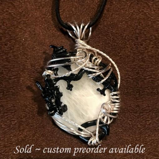 Stone Wrap Dragon Pendant - Moonstone